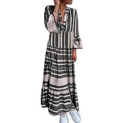vestido largo asim/étrico de verano para mujeres Midi S ~ XL 2018 Blusa con cuello en V de moda con vestido de verano de rayas sueltas deportivas LILICAT/® Vestido de playa sin mangas para mujer