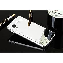 VANDOT Duro Híbrido Carcasa para LG Google Nexus 5 PREMIUM Bumper Case del Metal Aluminio + PC Ultrafina Espejo Efecto Trasero Funda Cover - Plata