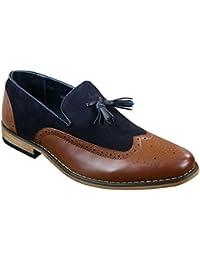Hommes Tweed & cuir Mocassins Chaussures de conduite glisser sur Tassle Design Rétro Vintage