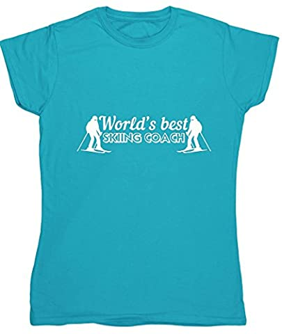 HippoWarehouse World's best skiing coach womens fitted short sleeve
