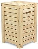 LAUBLUST Wäschekorb zur Aufbewahrung in Größe L - Kiefer Naturbelassen ca. 35 x 35 x 55 cm - Wäschesammler mit Griffen - Deckel und Herausnehmbarer Boden