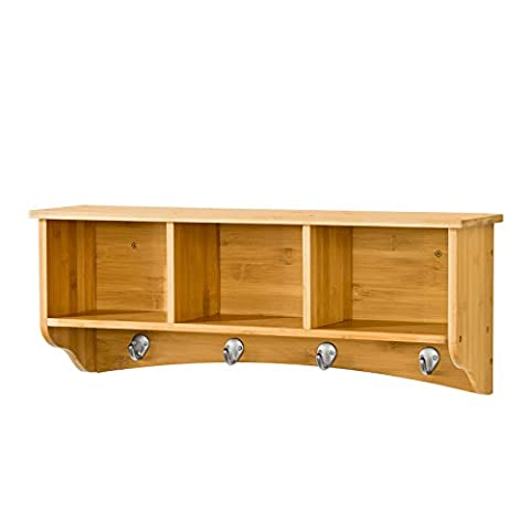 SoBuy® FRG48-N, Bamboo Wall Display Storage Unit with 3 Components 4 Hooks, Wall Coat Rack Bathroom Kitchen Cupboard