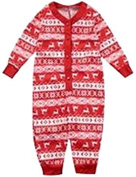 JEELINBORE Weihnachten Familie Nachtwäsche Weich Gedruckt Schlafanzug Pyjama Set Langarmshirt