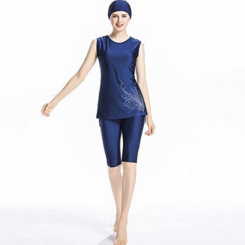 ziyimaoyi Muslimischer Kurzarm -, Bescheidenheit Muslim Islamischen Badeanzug Burqini UPF 50+, Surf-Anzug, Konservative Bademode für Frauen Damen Mädchen, blau, Large
