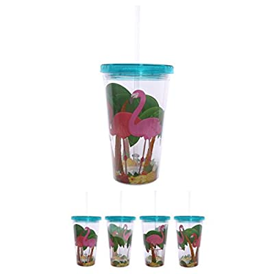 Funky Plastic Flamingo Double Walled Cup with Straw
