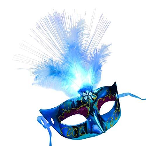 TIREOW Maske, Damen LED Maskerade Maske Halloween Kostüme Venezianischen Partei Maske (Blau)