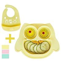 Brunoko Baby Plate with Bib Yellow - Non-Slip Silicone Children