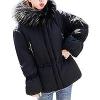 ZIYOU Damen Softshell Mantel mit Großer Pelzkragen, Warmer Dick Übergangs Pakka Jacke Steppjacke Windbreaker Overcoat Winter