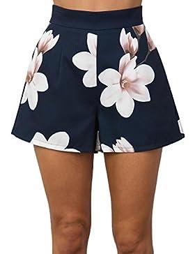 Monika Estate Donna Moda Pantaloncini a Vita Alta Hot Pants con Zip Casual Stampa Spiaggia Shorts Corti Pantaloni