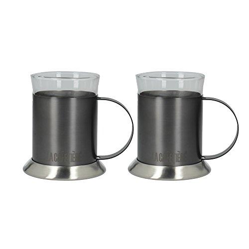 La Kaffeebereiter Bearbeitet-Glas doppelwandig Glas/Metall Kaffeetassen, 200ml (7FL...