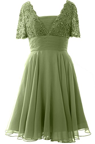 MACloth Elegant Short Sleeve Mother of the Bride Dress Lace Cocktail Formal Gown clover