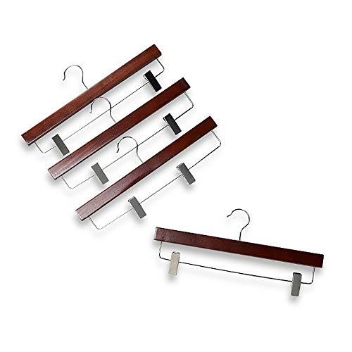 Xyijia Kleiderbügel Roter Mahagoni-Holz-11-Zoll-Rock-Kleiderbügel Mit Klammern(8 Stück/Menge) -