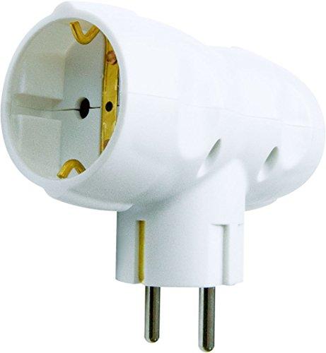 Garza Power-Adattatore doppio laterale, 2prese Schuko) con presa di terra, formato retrattile, colore: bianco