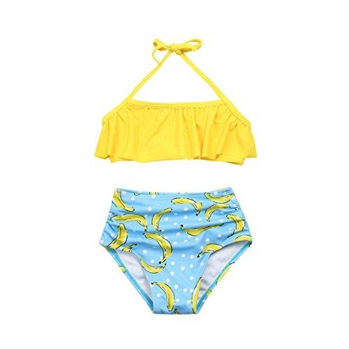 Logobeing Ropa Bebe Niña Trajes de Baño de dos piezas - Cuello halter Tops de Volantes y Cintura alta Pantalones cortos Bikini Bañador Conjunto (4Años, Amarillo)
