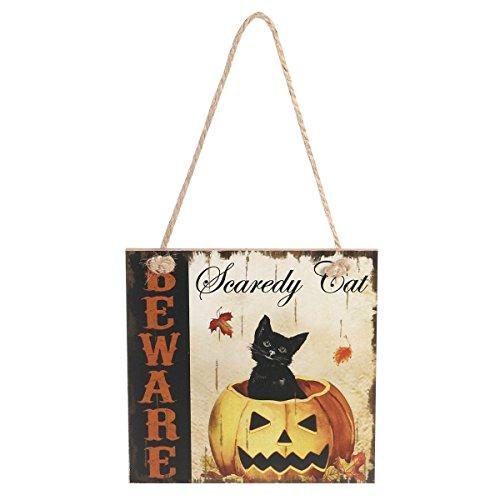 Youbedo Halloween Beware Scaredy Cat Wand aufhängen Schild Holz Board Tür Wand Halloween Dekorationen