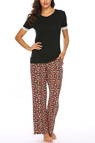 Damen Schlafanzug sommer Pyjama set baumwolle Jersey frauen Nachtwäsche Zweiteilig Hausanzug kurz schlafshirt mit lang hosen