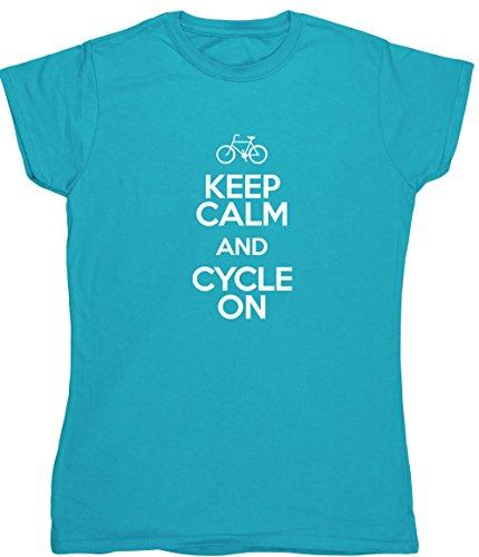 Radfahren Fitted T-shirt (Hippowarehouse Keep Calm and Cycle on Damen Fitted Short Sleeve T-Shirt (bestimmte Größenangaben in der Beschreibung) Gr. XX-Large, saphirblau)