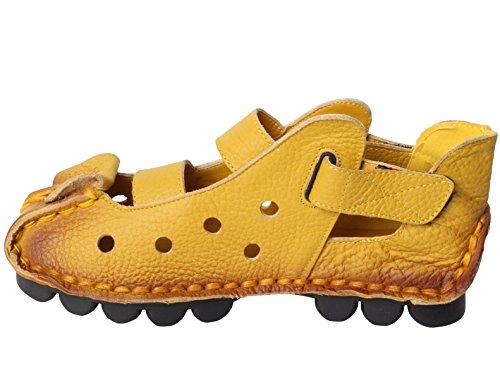 MatchLife Femme Vintage Cuir Chaussures Plates Sandales Style1-Jaune