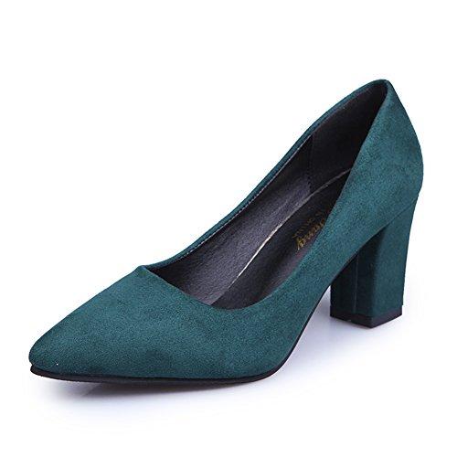Dame fashion printemps a fait des talons hauts/Chaussures de travail de la bouche peu profonde/L'Europe et les chaussures à talons chunky B