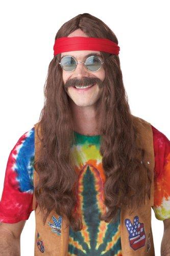 Hippie-Perücke mit Bart (Kostüme Blumenkind Perücke Braun Hippie)
