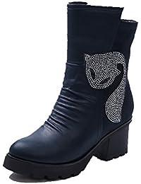 AgooLar Mujeres Puntera Redonda Tacón Alto Material Suave Caña Baja Sólido Botas con Metal, Negro, 35
