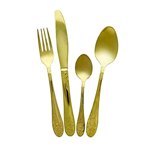 Brand New 16 Piece Royal Accent Gold Plated Stainless Steel