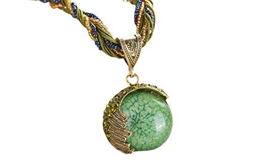 DELEY Retro Antik böhmische Hirse Kette Crystal Half Moon Opal Anhänger Statement Halskette Grün (Opal Moon Halskette)