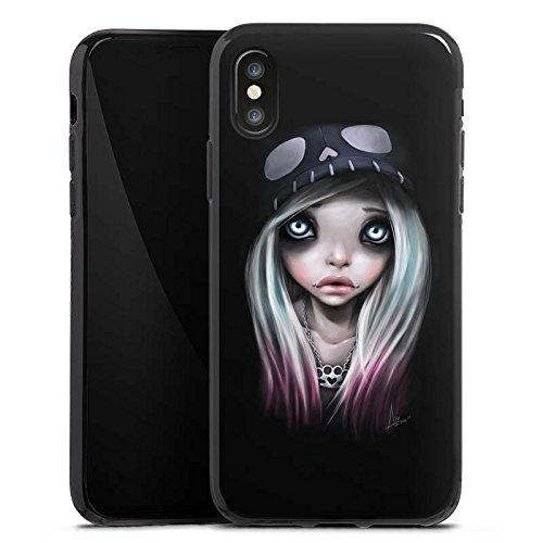 Apple iPhone X Silikon Hülle Case Schutzhülle Mädchen Kunst Art Silikon Case schwarz