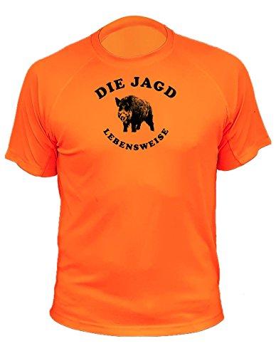 T shirt jagdmotiv Wildschwein Gesicht für Mann - Jagd Geschenke (20103, Orange, L)