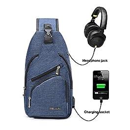 BSTcentelha, Zaino a Tracolla, per Uomo o Donna, Leggero, per Escursionismo e Viaggi, con Porta di Ricarica USB (Blu)