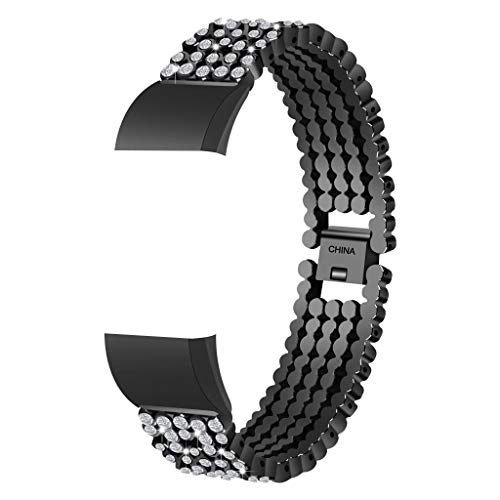 Momola für Fitbit Charge 2 Metall Edelstahl Uhrenarmband,mit Verstellbarem Verschluss für Herren Damen für Fitbit Charge 2 (Schwarz) (22mm Aluminium-uhrenarmband)