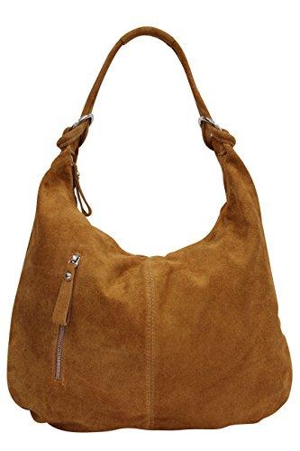 AMBRA Moda Damen Wildleder Schultertasch Damen Handtasche Hobo-Bags Shopper Beuteltaschen Veloursleder Suede Ledertasche DIN-A4 42cm x 35cmx 4cm WL803 (Cognac groß) (Suede-leder-hobo)