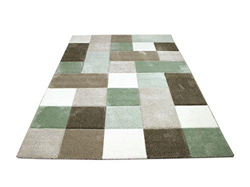 Maui Designer Teppich Pastell Grün Beige Karo in 4 Größen - Grün Und Braun-teppiche