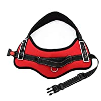 TOPofly Strapless Bra Dog Car Harness Plus Connector Strap, Multifunction Adjustable Vest Harness Double Breathable Mesh Fabric with Car Vehicle Safety Seat Belt Red