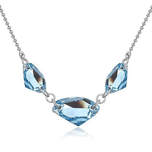 Halskette und Anhänger aus Österreich, 100% Kristall, rhodiniert, präzise geometrische Mode-Accessoires, metall, aquamarin, Einheitsgröße
