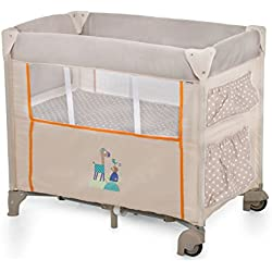 Hauck Dream N Care - Minicuna de viaje, con ruedas, incluido colchón base, con bolsas de almacenaje, plegado y transporte fácil, incluido bolso transporte, 87 x 56 x 78 cm, multicolor