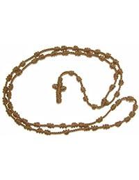 R Heaven - Brown anudados cuerda cuerda rosario grande y fuerte