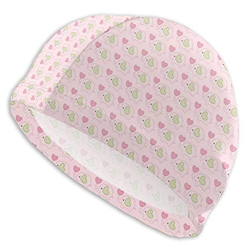 GUUi Swimming Cap Elastic Swimming Hat Diving Caps,Sweet Baby Figures with Checkered Patterns and Polka Dotted Hearts,for Men Women Youths Chino Youth Cap