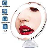 """HLM- LED 10X di ingrandimento Specchio for Il Trucco con Le luci, 8.0"""" Grande Illuminato Rotonda Viaggi Specchio da Toilette, Daylight dimmerabili, Senza Fili, Chiusura aspirazione, di 360 rotazioni,"""