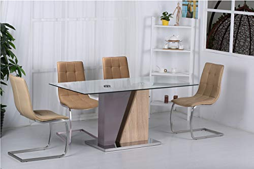 Ormea Stühle, PU, Chrom/Braun, 2 Stück -