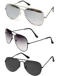 Sheomy Combo Set of 3 UV Protect Avaitors & Wayfarers Unisex Sunglasses
