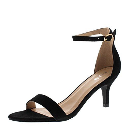 Mujer Bajo Gatito Talón Correa de Tobillo Ante Oficina Trabajo Noche Sandalia Zapatos - Negro KL0338D...