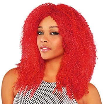 Ladies Crimped Red Wig Jester Clown Harlequin Honey Harley Quinn