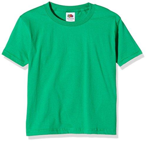 Fruit of the Loom Unisex-Kinder Sofspun T-Shirt, Grün (Kelly Green), 3-4 Jahre - Jungen-kelly-grün
