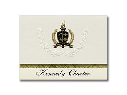Signature Ankündigungen Kennedy Charta (Charlotte, NC) Graduation Ankündigungen, Presidential Stil, Elite Paket 25Stück mit Gold & Schwarz Metallic Folie Dichtung - Karte Charlotte Nc
