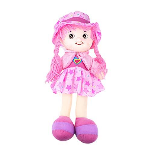 Demino Karikatur-Hut-Lappen-Puppe 42cm weiches nettes Baby-Tuch-Spielzeug Baby Pretend Kinder Mädchen-Geburtstags-Geschenk-Spiele Rosa 42cm