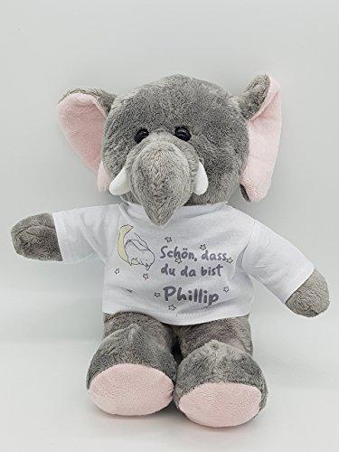 Kinderlampenland Kilala personalisierter Elefant Kuscheltier Hase im Mond zur Geburt mit Namen Baby Mädchen Junge Stofftier Geschenk zur Taufe