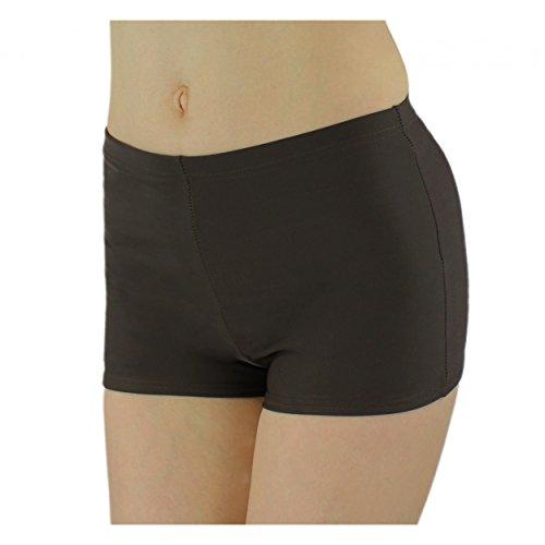 Aquarti Badeshorts Damen Bikinihose Hotpants Sportbikini Schwimmshorts Badepants, Farbe: Braun, Größe: 40