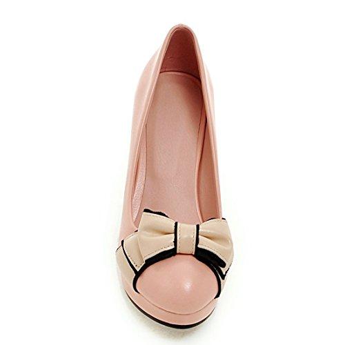 ... YE Damen Blockabsatz Pumps Geschlossene High Heels Plateau mit Schleife  und 10 Absatz Elegant Schuhe Rosa ...