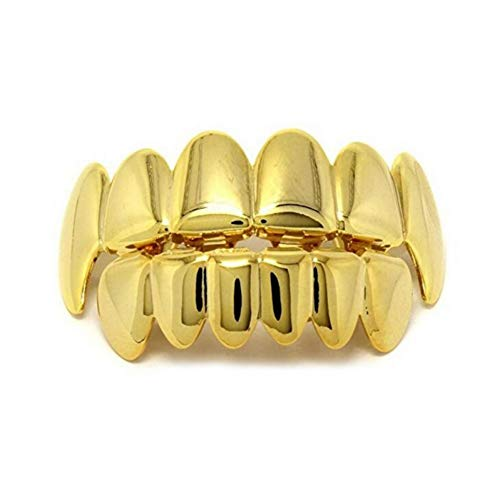 Teeth, Hanyia Halloween 6 Tooth Grillz Stainless Steel (Gold) ()